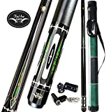 Tai BA Cues 2-Piece Pool cue Stick + Hard Case, 13mm Tip, 58', Hardwood Canadian Maple Professional Billiard Pool Cue Stick 18,19,20,21 Oz (Selectable)-Blue, Black, Red, Gray, Green, Brown