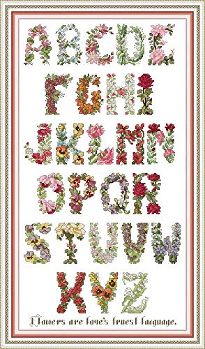 YEESAM ART Cross Stitch Kits Stamped for Adults Beginner Kids, English Alphabet Flowers 11CT 44×75cm DIY Embroidery Needlework Kit with Easy Funny Preprinted Patterns Needlepoint Christmas (Alphabet)