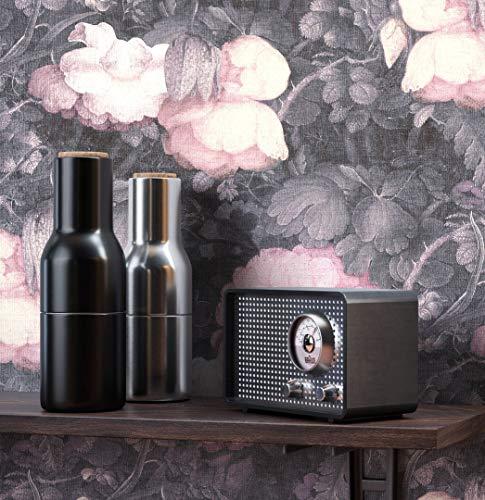 NEWROOM Blumentapete Tapete grau Blumen Rosen Floral Vliestapete rosa Vlies moderne Design Optik Tapete Vintage inkl. Tapezier Ratgeber