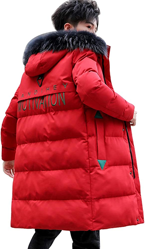 Down Jacket Men's Winter Jackets, Warm and Thick Hooded Winter Clothing, Medium Long Filler:Imitation Silk Cotton(Size: M, L, XL, 2XL, 3XL) Red