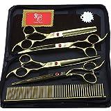 Tijeras de peluquería de 7 pulgadas japonesas 440C con doble asa para mascotas, 4 tijeras planas, tijeras de doblar, tijeras finas, juego asequible, peine
