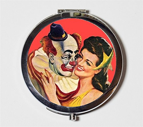 Clown Romance Compact Mirror Pulp Fiction Circus Romantic Valentine's Day Pocket Size for Makeup Cosmetics