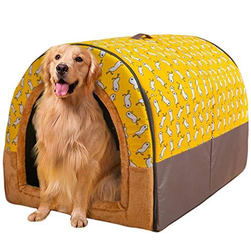 Haustierbett, Großer Hund Hundehütte Winter Warm halten Waschbar Innen Luxus Hundehütte Vier Jahreszeiten Hundehöhle Iglu 2 in 1 Sofa Hunde Kissen,G,XL 75 * 60 * 55cm
