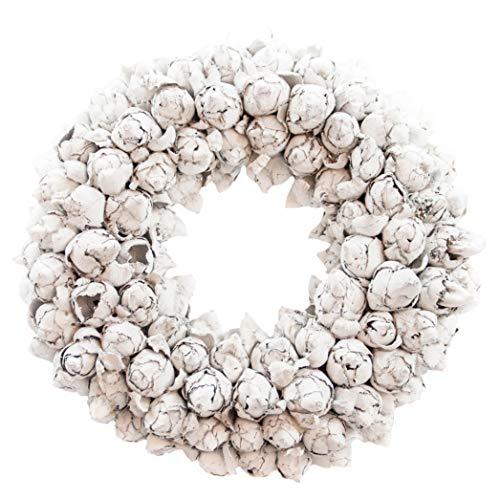 COURONNE Naturkranz Deko Ø50cm in weiß, gefertigt aus Kokos-Früchten   Türkranz ganzjährig zum hängen oder als Tischdekoration im Shabby chic Design   Zeitloses Wohnaccessoir als Landhaus Natur-Deko