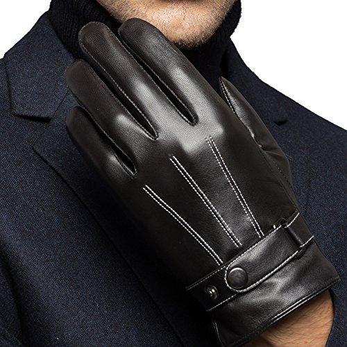 HARRMS Herren Winter Handschuhe aus Echtem Leder Touch Screen Gefüttert aus Kaschmir Lederhandschuhe (Schwarz, XXL)(mit Geschenk Verpackung)