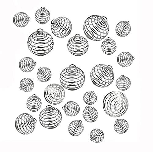 30 colgantes de jaulas de cuentas en espiral, chapado en plata, para jaulas, colgante de bola de primavera, para hacer collares, pulseras, llaveros