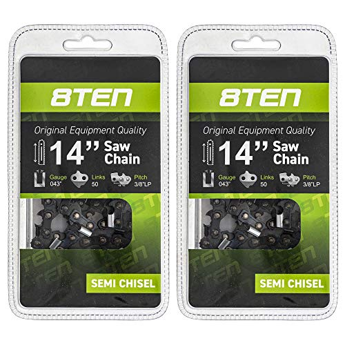 8TEN Chainsaw Chain for Husqvarna Stihl 021 023 025 017 018 009 011 010 020 61PMM3 50 14 inch .043 3/8 50DL 2 Pack