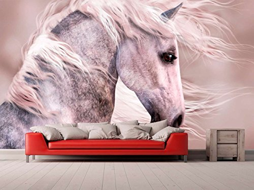 Fotomural Vinilo para Pared Caballo Blanco | Fotomural para Paredes | Mural | Vinilo Decorativo | Varias Medidas 100 x 70 cm | Decoración comedores, Salones, Habitaciones.