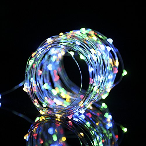 Chritsmas String Lights, GreenClick Christmas Tree Lights 100 Micro LEDs 10.5m Colorful Battery Powered Fairy Lights Remote Control 8 Modes Outdoor and Indoor, for Wedding, Holiday, Party