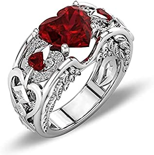 YOFEEL Princess Silver Red Ruby Gemstone Birthstone Wedding Engagement Heart Ring Girls Women
