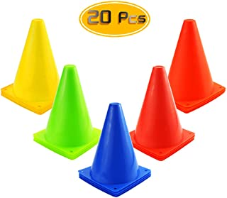 Kuqqi 7 Inch Plastic Agility Cones 20 Pack Set, Indoor/Outdoor Sports Soccer Flexible Cone for Training, Party, Activity, ...