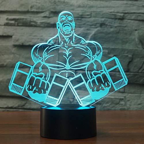 Nachtlicht 3D Illusion Led-Lampen Muskelmann Mit Hanteln 7 Farbwechsel Touch Art Skulptur Lichter Mit Usb-Kabel Für Kinder Weihnachten Geburtstagsgeschenke,Room Home Led-Lampe