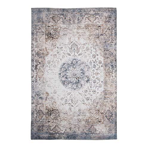Alfombra Rectangular Kilim Gris de algodón de 230x160 cm - LOLAhome