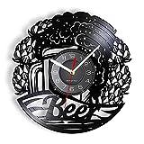 XYVXJ Beer O 'Clock Reloj de Pared con Disco de Vinilo Home Bar Pub Decor Taza de Cerveza Helada Reloj Vintage Reloj