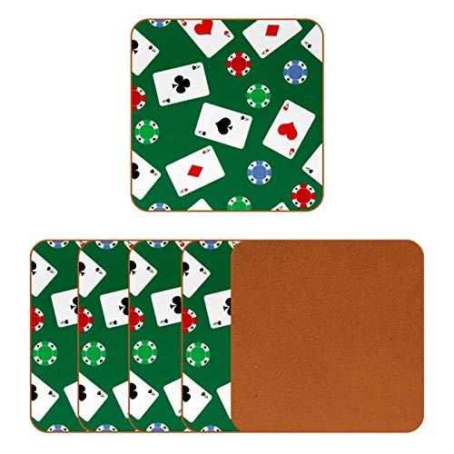 BENNIGIRY Juego de cartas de casino chips de cuero posavasos cuadrado taza de café taza de vidrio manteles individuales taza de taza de taza de tazas esteras lugar esteras 6 piezas