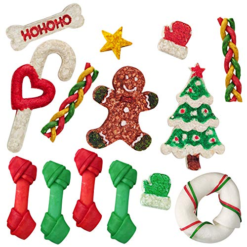 MON2SUN 14Count Christmas Dog Rawhide Holiday Stocking for Small Dogs