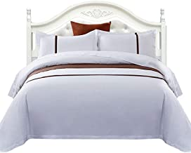 Bedding Duvet Cover Set King, Hotel Collection Bedding 4 Piece, 100% Cotton Environmentally Friendly Luxury White Design, Extra Soft Easy Fit Twin Size (260X240 Cm)