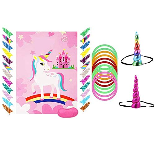 Unicorn party game set unicorn ring throwing game & unicorn nail. birthday party ring throwing game with unicorn party supplies, perfect for party events and birthday gifts.