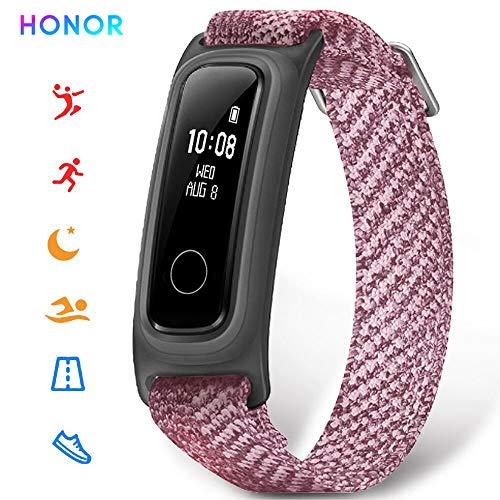 HONOR Band 5 Fitness Trackers HR, Basketbal Versie Activiteit Trackers Health Oefening Horloge met Hartslag en Slaap Monitor, Smart Band, Step Counter, Stappenteller Wandelen voor Mannen Vrouwen en Kinderen Roze