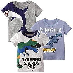 2. HILEELANG Toddler Boy's Dinosaur Graphic Crewneck Tees (3-pack)