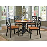 Cottage Black/Oak 5 Piece 42' Round Dining Set with 4 Chairs by Home Styles