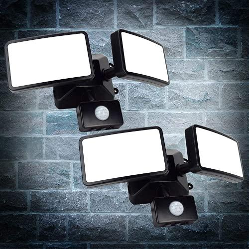 Depuley 2 luci LED per esterni con sensore di movimento regolabile a 180°, 20 W, faretto esterno con doppia testa, 5.11 x 3.14 in, multi-angolo, nero, 1600 lm, 6000 K, garage, ingresso