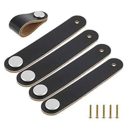 5 tiradores de piel para muebles, cajones, tiradores con tornillos, accesorios para armarios de cocina, baños y puertas, accesorios de jardín (negro)