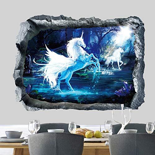 3D witte eenhoorn muurstickers voor thuis op de bank achtergrond sticker decoratieve muurschildering kunst venster deken DIY poster voor kinderen slaapkamer nieuw