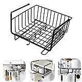 MRSHANG Under Shelf Storage Basket,Under Shelf Storage, Metal Baskets for Storage,Under Shelf Hanging Metal Wire Storage Basket Organizer for Kitchen, Office, Pantry, Bathroom, Cabinet (Black)