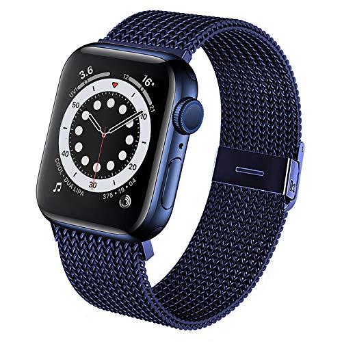 Sopoc Cinturino in metallo compatibile con Apple Watch, da 38 mm, 42 mm, 40 mm, 44 mm, in acciaio inox, compatibile con iWatch Series SE/6/5/4/3/2/1 e Acciaio inossidabile, colore: Blu