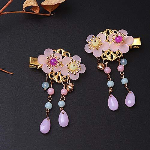 Épingle à cheveux gland pour enfants diadème de style chinois étape shake fille style antique tête fleur bébé épingle à cheveux bijoux accessoires fille, paire de fleur double perles violettes jaunes