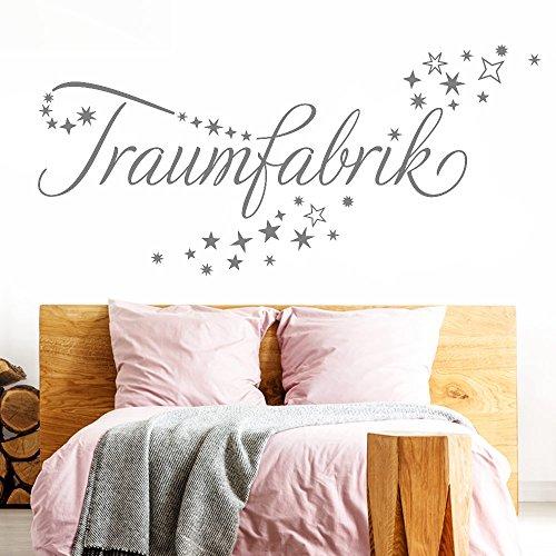 Grandora Wandtattoo Traumfabrik + Sternenschweif I mittelgrau (BxH) 120 x 44 cm I Schlafzimmer Kinderzimmer Sticker Aufkleber Wandaufkleber Wandsticker Sterne W708