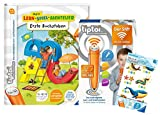 tiptoi Ravensburger Set: libro de primera letra de aprendizaje y aventura + 00036 – Der Pen – WiFi Edition + 1 x Create pegatinas diferentes selección