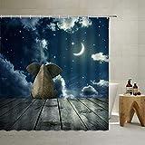 Elefanten-Duschvorhang, niedliches Tier, das auf Bord sitzt, unter dem blauen Sternenhimmel bei Nacht dekoriert, Stoff, Badezimmervorhänge, Landhausstil, neutraler Duschvorhang, 178 x 178 cm