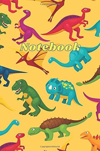 Notebook: Cute notebook for kids yellow multi dinosaur