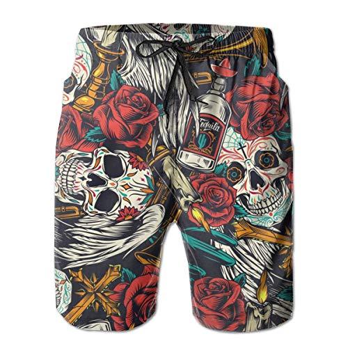 N2 Pantalones Cortos para Hombre Vintage Day of Dead de Patrones sin F