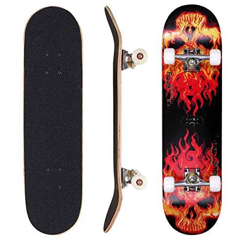 Sumeber Skateboard 80 x 20 cm Double Kick Trick Skateboard Anfänger Komplettboard mit ABEC-7 Kugellager PU Rad Geburtstagsgeschenk für Anfänger Kinder und Erwachsene (Flame Skull)