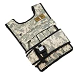 CROSS101 Adjustable Camouflage Weighted Vest with Shoulder Pads, 20 lb