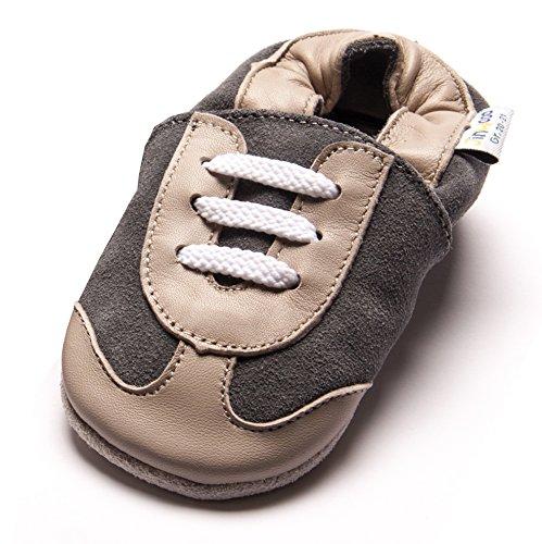 Jinwood designed by amsomo - Sporty Grey - Mini Shoes - Turnschuhe - Hausschuhe - Lederpuschen - Krabbelschuhe, EU 26/27