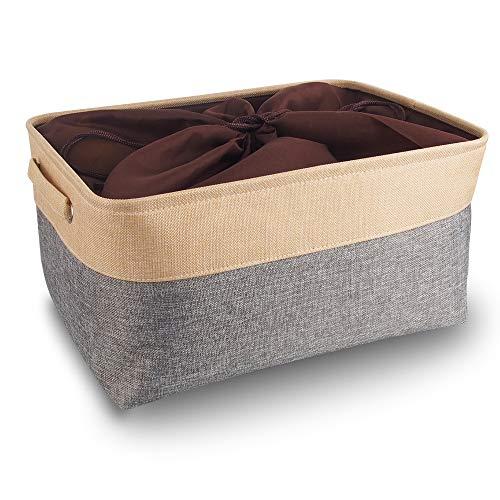 Mangata aufbewahrungsbox Stoff, aufbewahrungsbox groß grau, Korb Stoff aufbewahrung mit Griffen für Schrank, Spielzeug, kleiderschrank, Regale, Kleidung (faltbar, extra groß)
