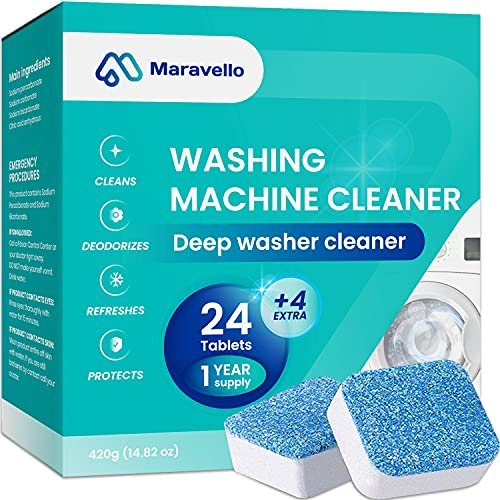 Maravello Washing Machine Cleaner Tablets, Solid Washer Deep Cleaning Tablet, for Front and Top Load Washers, 28 Tablets