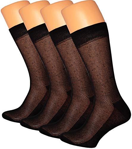 RONDO 4-Pack Men's ultra Thin Breathable Cotton Dress Socks Black, 10-13