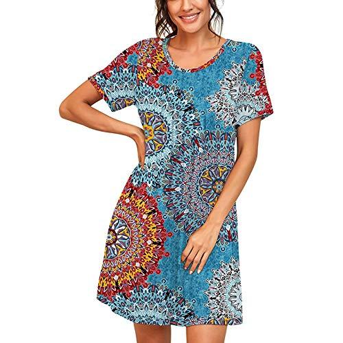 Nachthemd Damen Nachtwäsche Baumwolle Lange Herbst Strandkleid Freizeitkleid Kleid V-Ausschnitt High Low Nachtkleid Still Sleepshirt Sleepwear mit Taschen