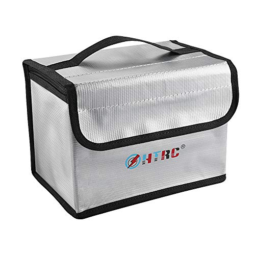 HTRC Fireproof Explosionproof Lipo Safe Bag, Large Space Premium Fire and Water Resistant Double Zipper Lipo Battery Guard Bags for Lipo Battery Storage and Charging(8.58x5.3x5.9 inch)