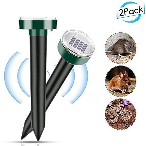 Vegena Solar Maulwurfabwehr, 2 Stück Ultrasonic Maulwurfschreck, Wühlmausvertreiber, Wühlmausschreck, Mole Repellent, Maulwurfbekämpfung mit IP56 für Den Garten #1