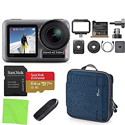 DJI OSMO Action 4K HDR Waterproof Action Camera with 2 Displays with Lowepro AVC2 Hardshell Case, Sandisk 64GB microSD Card Deluxe Kit by The Tech Expert