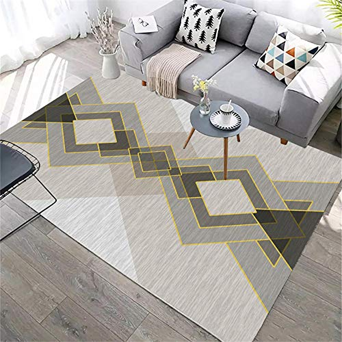ZHAOPAI living room rug Geometric pattern soft balcony floor carpet gray carpetcarpet rug -gray_200x300cm