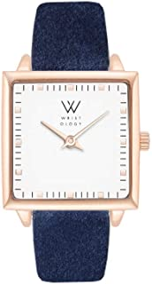 Julia Petitie Square Womens Watch Rose Gold Navy Blue Suede Ladies Changeable Strap Band