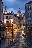 Poster 40 x 60 cm: Straßencafes in Montmartre mit Basilika