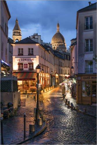 Tableau sur toile 20 x 30 cm: Street in Montmartre with Basilica of Sacre Coeur, Paris, France de Jan Christopher Becke - Reproduction prête à accrocher, toile sur châssis, image sur toile véritabl...